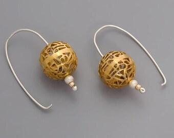 On SALE 25% OFF Filigree Earrings, Gold Earrings, Gold Lace Earrings, Unique Earrings, Gold Silver Earrings, Boho Earrings, Ball Earrings...