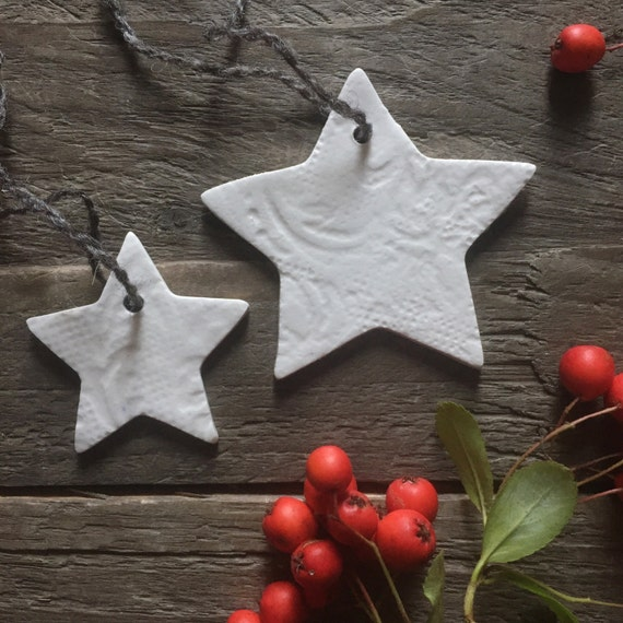 Small Porcelain Christmas Star Ornaments