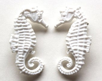 Clearance Sale White pair of seahorse vintage plastic the life aquatic pin brooch