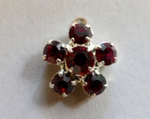 Vintage Silver Plated and Ruby Rhinestone Flower Charm/Pendant  (1)