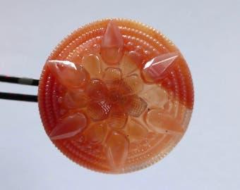 Vintage Czech Part Opaque, Part Transparent Apricot Glass Button - Raised Starburst Design - 28mm (1)