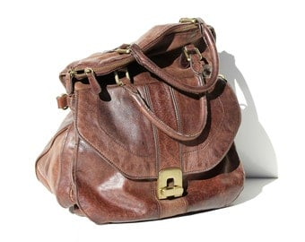 Vintage Brown Leather Slouchy Hand Bag