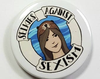 Selkies Against Sexism Feminist Mythology Badge Pinback Button