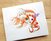 Jellyfish Girl and Goldfish Die-cut Vinyl Sticker Decal Pisces