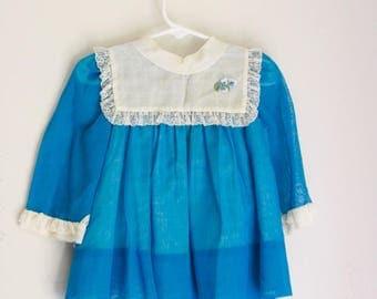 Vintage girls dress nannette 9 months teal blue