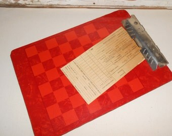 Vintage Red Checker Board Clip Board, Industrial Clip Board, Vintage Office Decor