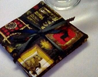 Mug Rug SET of 4, Hunting, Fabric Coasters, Handmade, Hostess Gift, FREE Shipping in US