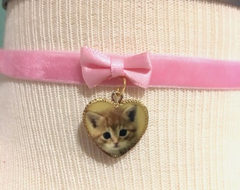 Kitten Pink Velvet Ribbon Choker Necklace