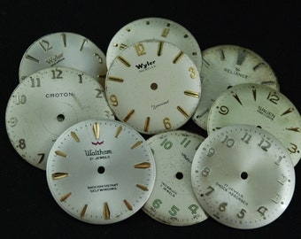 Vintage Antique Watch Dials Steampunk  Faces Parts Altered Art Industrial O 64