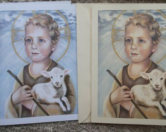 Christ Child, Lamb of God, Savior, Infant Jesus, Stationary Cards on 110lb White and Ivory Card Stock, Taken from  Original Acrylic Painting