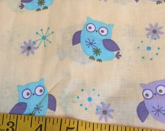 One Yard of Yellow Owls Fabric