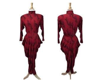 VTG 80s Ann Tjian for Kenar Size 6/8 Dress ~ 40s Influence ~ Red Black Crinkle Rayon ~ Mock Neck Panniers