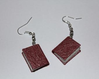 Burgundy Shimmer Bound Book Earrings