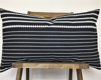 Moroccan embroidered blanket black & white lumbar pillow /boho/mid century modern /Ready to ship !