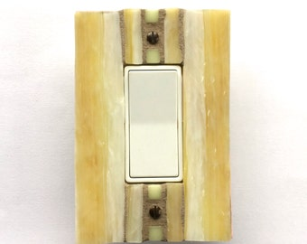 Decorative Light Switch Covers, Yellow Switch Plate, Dimmer Cover Plate, Wall Switch Plate, Stained Glass Mosaic, Outlet Cover, Decora, 8564