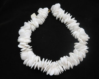 White Beaded Necklace - Plastic, New Old Stock, Original Tags