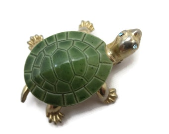 Turtle Brooch - Green Painted Glass, Figural Animal, Costume Jewelry