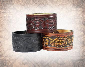Oak and Acorn Leather Cuff, Black leather cuff, Leather Wristband, Leather Bracelet, Leather Band, Cuff - Custom to You (1 cuff only)