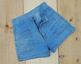 "Vintage Denim Shorts  //  Vtg 70s Hi-Gear Distressed Faded High Waist Denim Shorts  //  27"" waist"