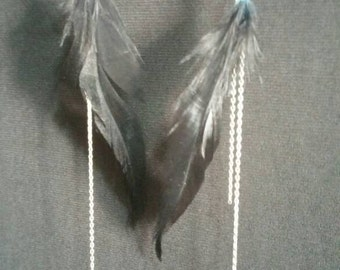 Black Chain Feather Earrings
