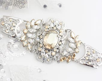 Bridal Bracelet Wedding Jewelry Golden Shadow Crystal Statement Bracelet Champagne Crystal Bracelet Bridal Jewelry RYAN