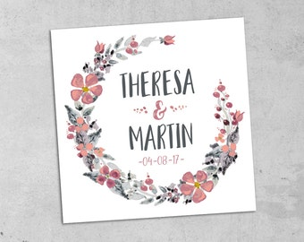 Invitation cards wedding watercolor pink grey