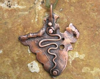 rustic copper pendant  LONS OOAK original handmade pendant No3