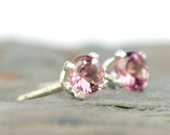Pink tourmaline earrings, sterling silver and pink tourmaline studs 3mm, 4mm, pink gemstone earrings, October birthstone jewellery, women