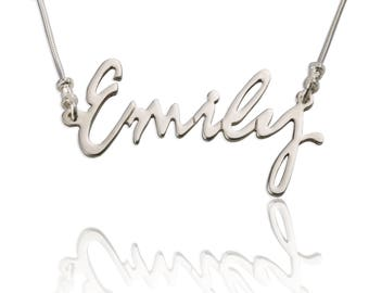 Carrie Style Any Name Necklace, 925 Silver, Personalized Necklace with Name Great Gift Idea, Xmas Christmas Gift