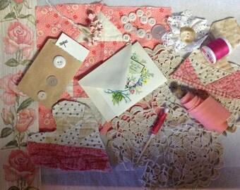 VINTAGE COLLECTION - DIY French Inspired Supplies - Pink  Vintage Assemblage  -  Vignette