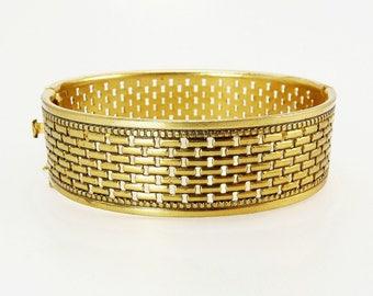 Vintage Bangle Bracelet Bronze Bracelets Hinged Bangle