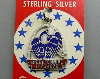 Vintage Sterling Silver & Enamel 1976 Bicentennial Charm Original Card