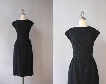 1950s Dress / Vintage 50s Dress / 1950s LBD L'Aiglon Little Black Dress Embroidered Linen S Small