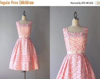 STOREWIDE SALE 1960s Party Dress / Vintage 60s Pearlescent Pink and White Party Dress / 50s Pink Embroidered Sundress XS extra small