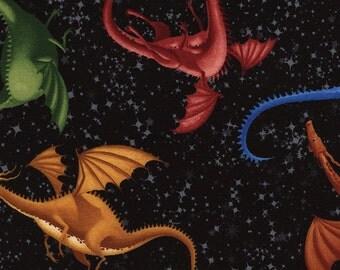 Dragons Multicolored Black Timeless Treasures Fabric 1 yard