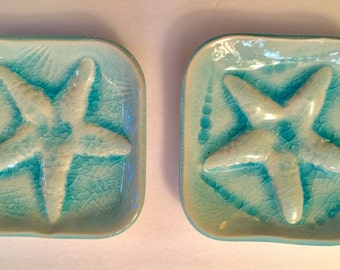 One Nautical Soap dish:  square starfish shell dishes handmade ocean surf art choose design and color