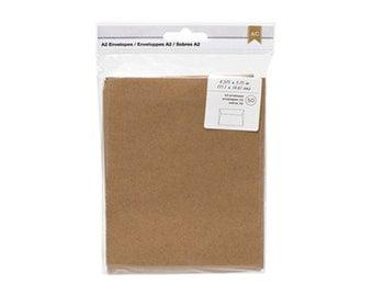 Kraft Envelopes - Size A2 Brown Envelopes - Quarter-fold Letter sized envelopes - Package of 50