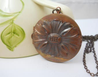 Large Vintage Copper Locket with Dark Brass Charm Keepsake Metal Locket Women's Necklace You Choose Chain Length Dark Metal Baroque Style