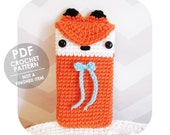 INSTANT DOWNLOAD - Kawaii cute fox with bow phone sleeve iphone - PDF crochet pattern