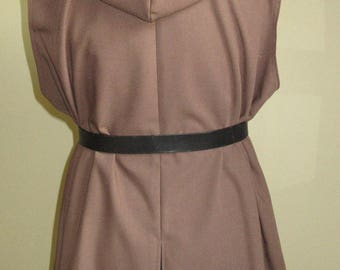 "Tunic with Hood, Ready Made, Medium Brown Linen Look, 50"" Chest, L"