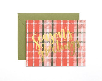 Season's Greetings Plaid Illustrated Card - Boxed Set of 8 // 1canoe2