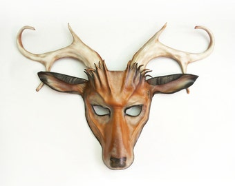 Leather Deer Mask with Antlers Whitetail Stag