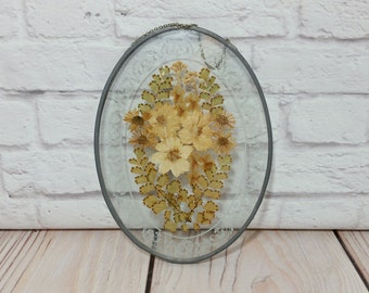 Vintage Framed Leaded Glass Dried Flower Specimen Victorian Style