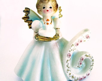 Vintage Ceramic 6th Birthday Angel Figurine / Girl with Lavender Dress with Birthday Cake / Signed Josef Originals / Early Years with Tags