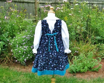 Toddler girl corduroy jumper, turquoise, periwinkle flowers on black, White long sleeved blouse, size 3T, Ready to ship, Ooak, Winte