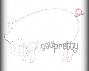 Pig Silhouette Applique Redwork Embroidery Design