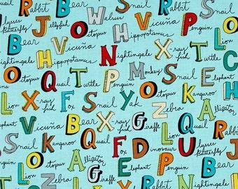 Animal ABC's Alphabet Words Turquoise ~ Windham Fabrics, Cotton Quilt Fabric