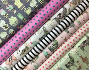 7 FQ  Lovely Llamas  Bundle ~ All 3 Colors + Cactus Hoedown ~ Lovely Llamas Collection for Michael Miller Fabrics