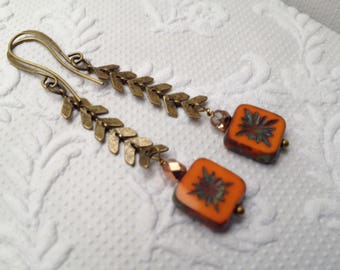 Czech Picasso Orange Flower Chevron or Herringbone Antique Bronze Earrings