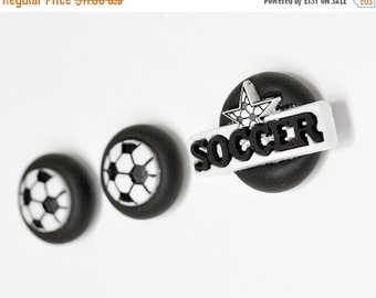 Soccer Ball Player Magnets. Office, Kids Room Decoration or Home Decor Athlete's Gift Set of 3 Handmade Magnets in Black Polymer Clay